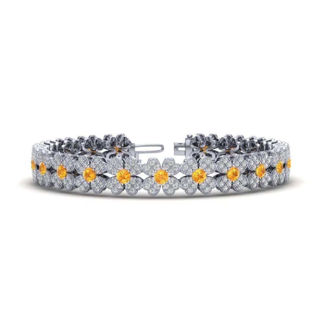6.50 CTW Citrine & Micro Pave VS/SI Diamond Bracelet