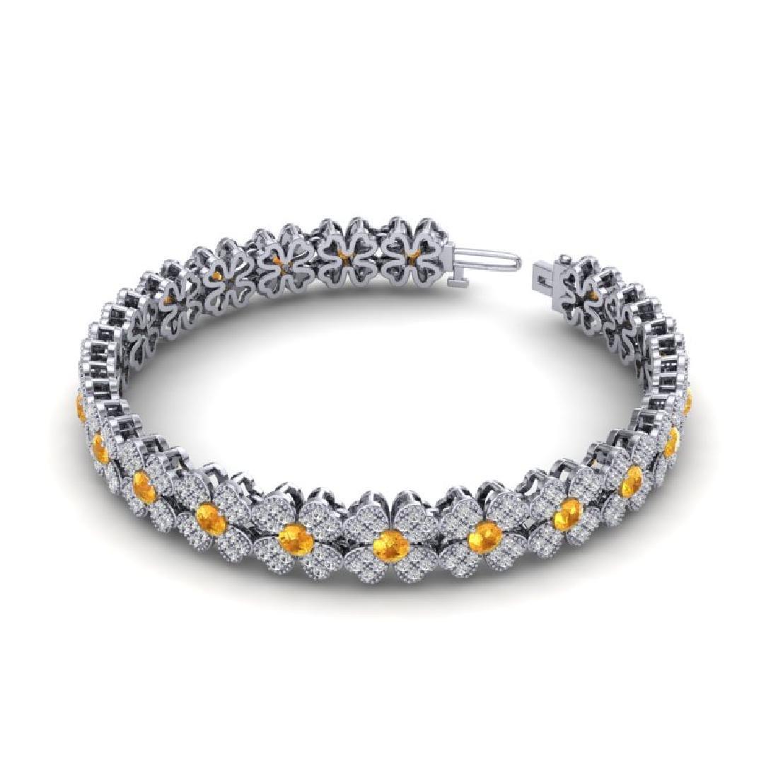6.50 CTW Citrine & Micro Pave VS/SI Diamond Bracelet - 2