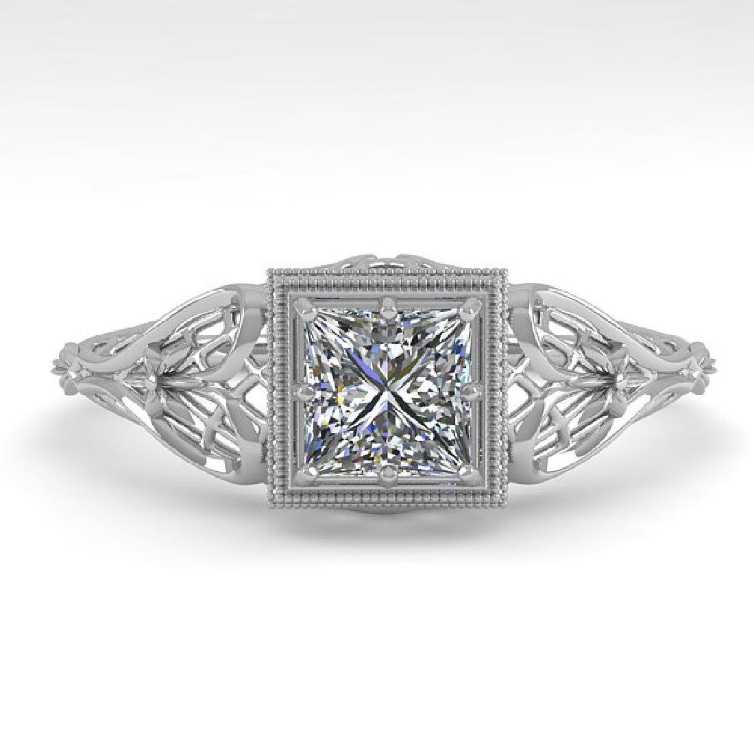 0.50 CTW VS/SI Princess Diamond Solitaire Ring Art Deco
