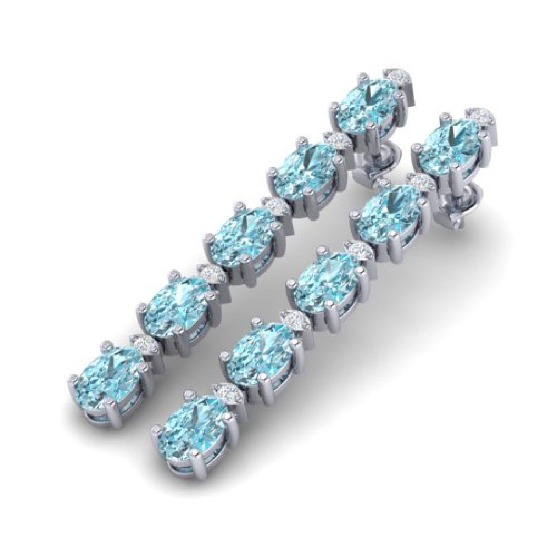 6 CTW Sky Blue Topaz & VS/SI Diamond Tennis Earrings