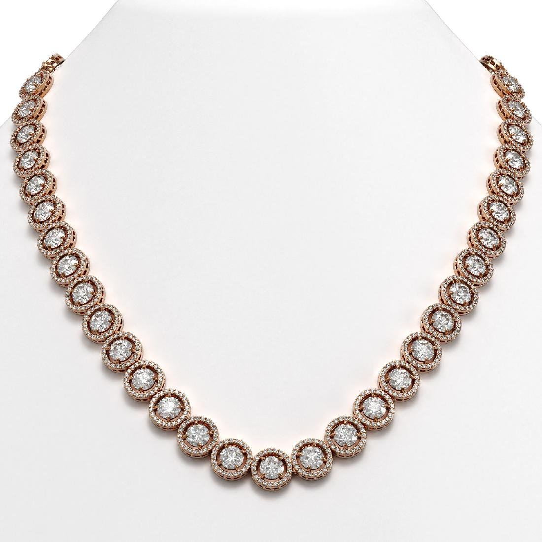 30.78 CTW Diamond Designer Necklace 18K Rose Gold