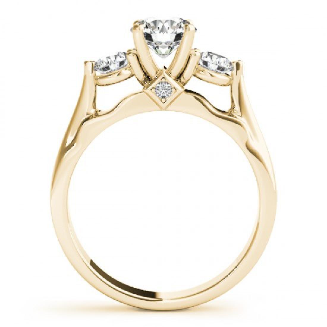 1.5 CTW Certified VS/SI Diamond 3 Stone Ring 14K Yellow - 2