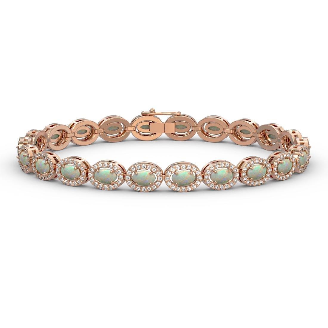8.28 CTW Opal & Diamond Halo Bracelet 10K Rose Gold