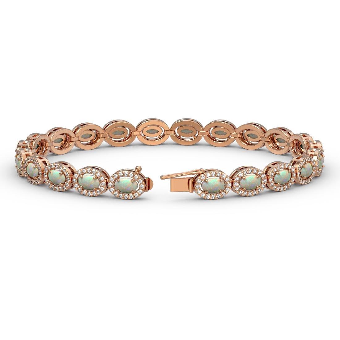 8.28 CTW Opal & Diamond Halo Bracelet 10K Rose Gold - 2