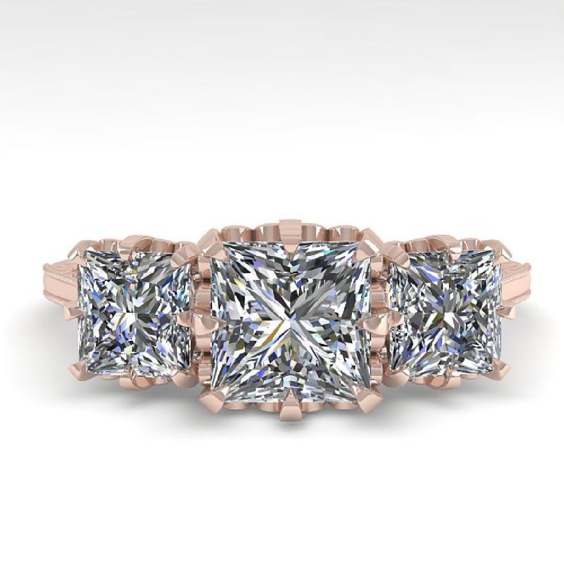 2 CTW Certified VS/SI Princess Diamond 14K Rose Gold
