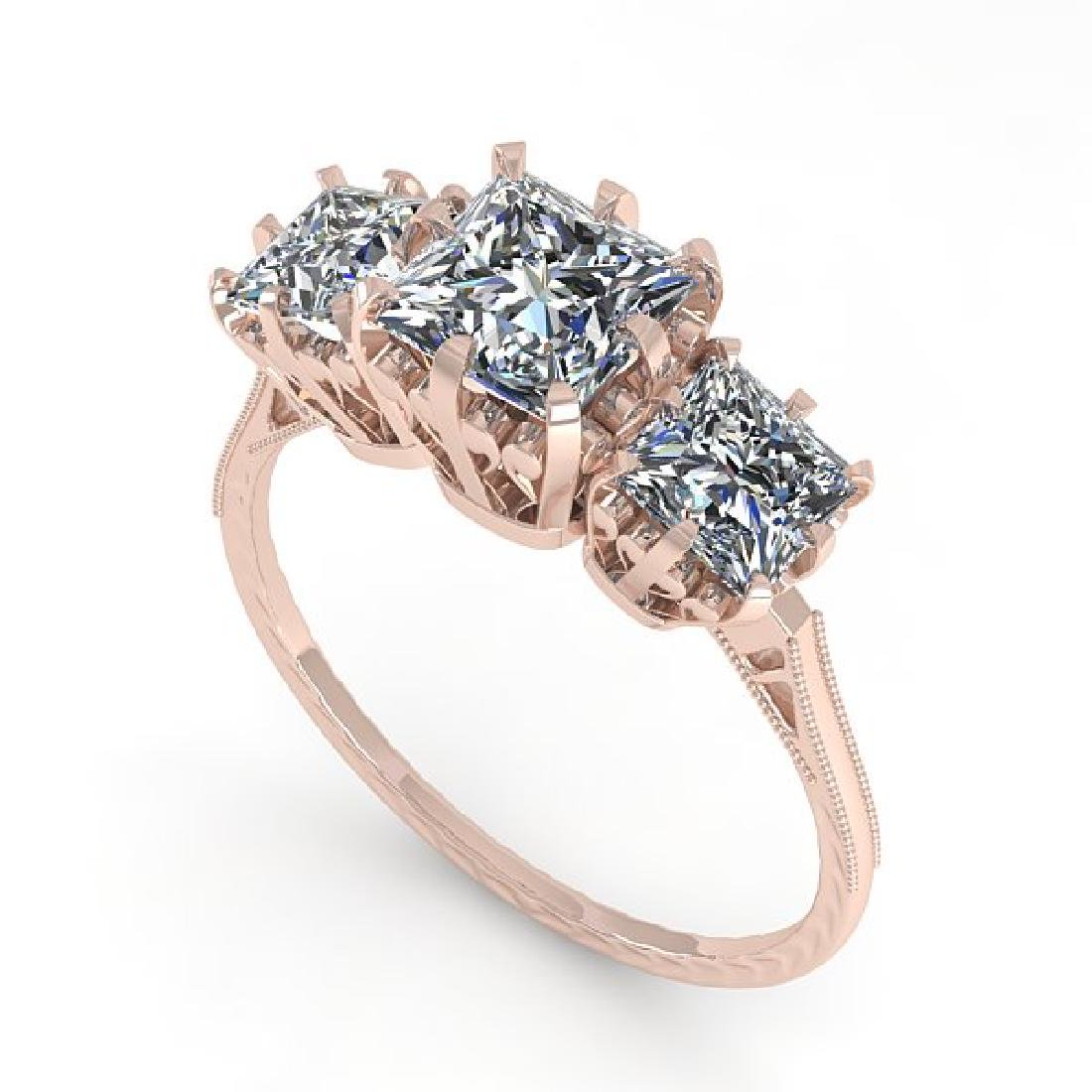 2 CTW Certified VS/SI Princess Diamond 14K Rose Gold - 2