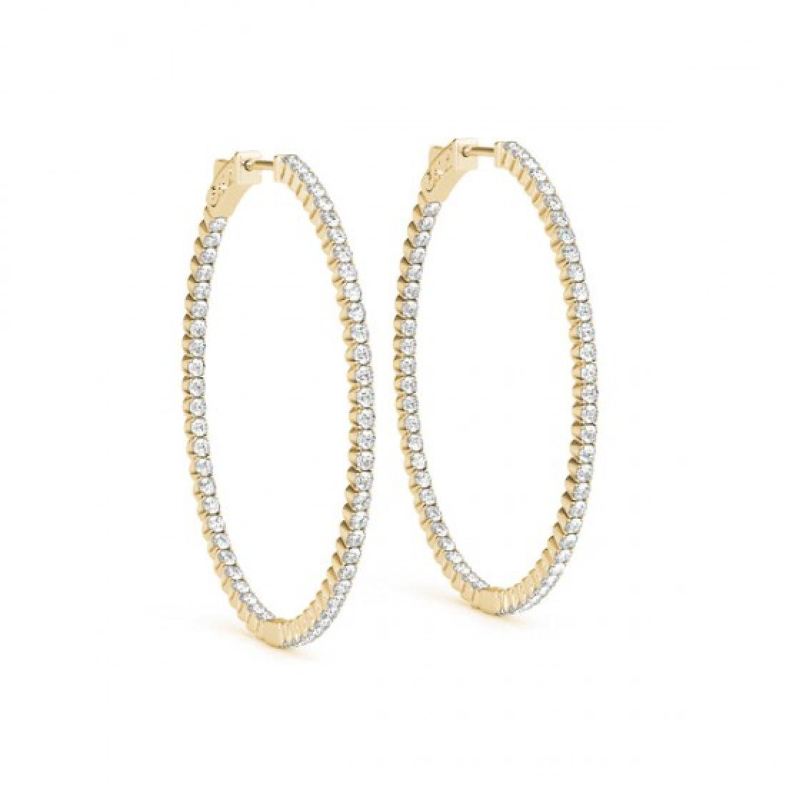 5.25 CTW Diamond VS/SI Certified 45 Mm Hoop Earrings - 2