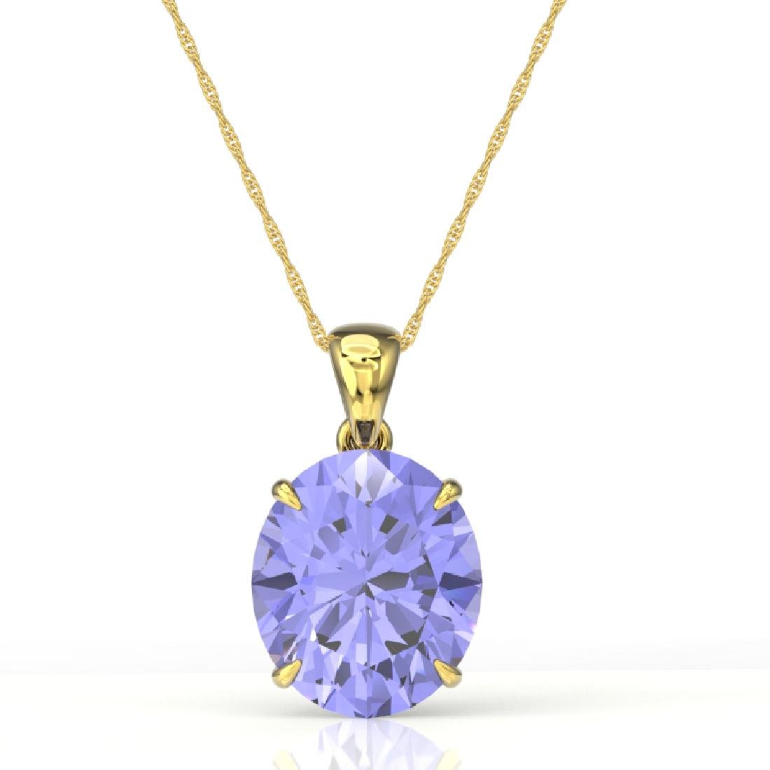 9 CTW Tanzanite Designer Solitaire Necklace 18K Yellow - 2