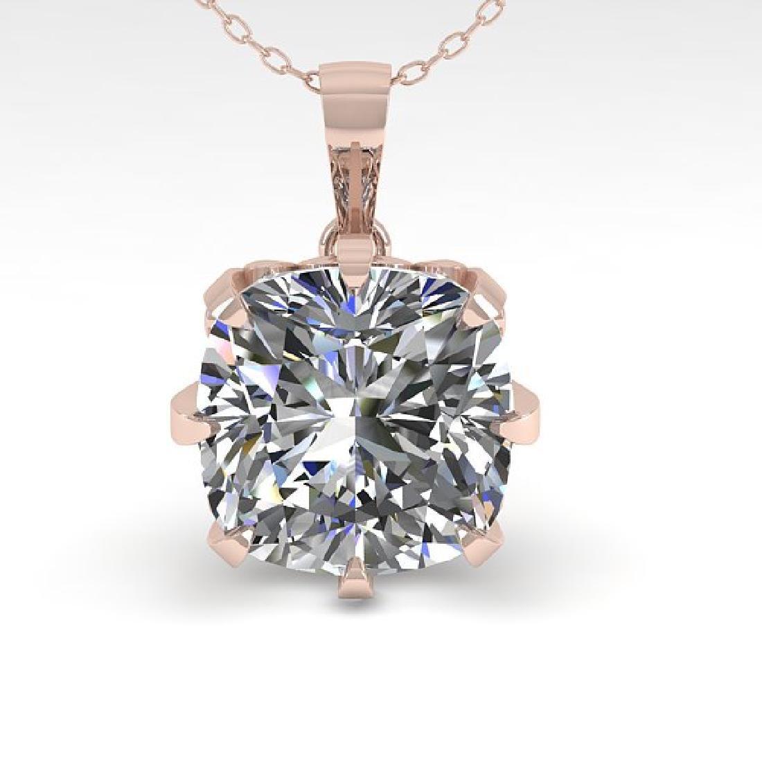 1 CTW VS/SI Cushion Diamond Solitaire Necklace 14K Rose - 2