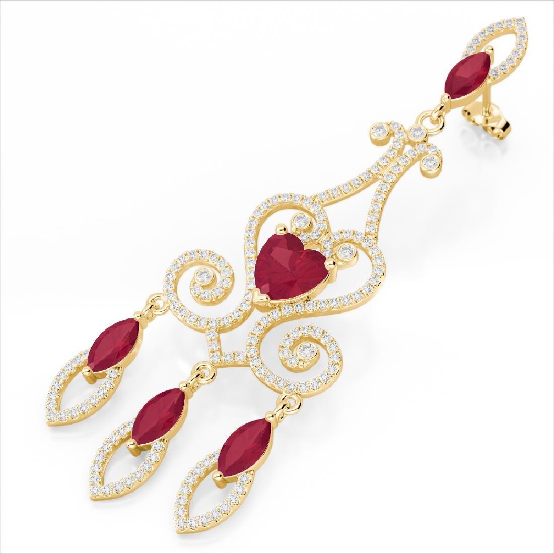 11 CTW Ruby & Micro Pave VS/SI Diamond Earrings 14K
