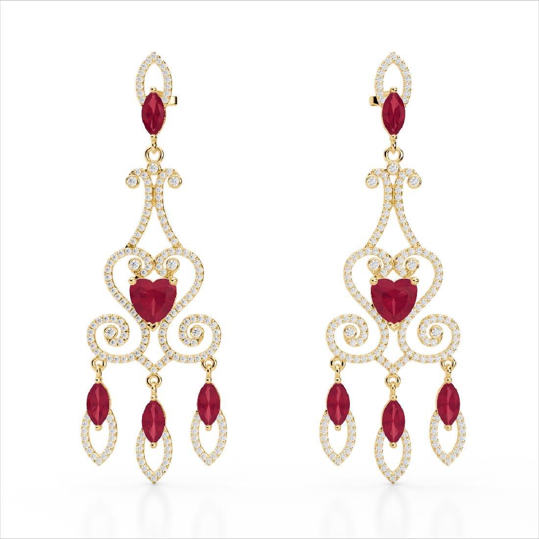 11 CTW Ruby & Micro Pave VS/SI Diamond Earrings 14K - 2