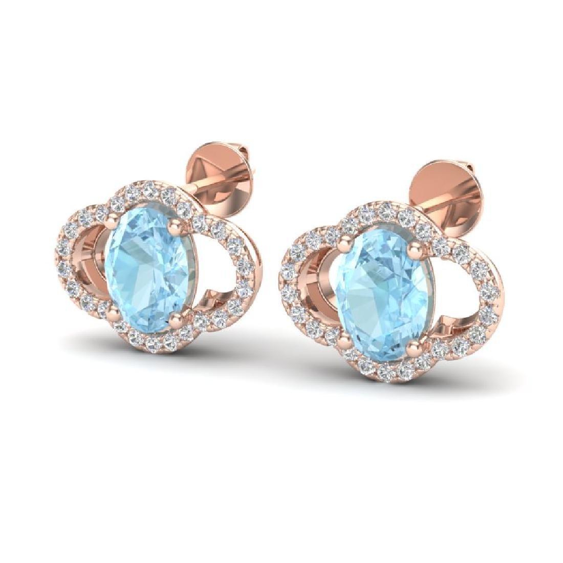 4 CTW Aquamarine & Micro Pave VS/SI Diamond Earrings