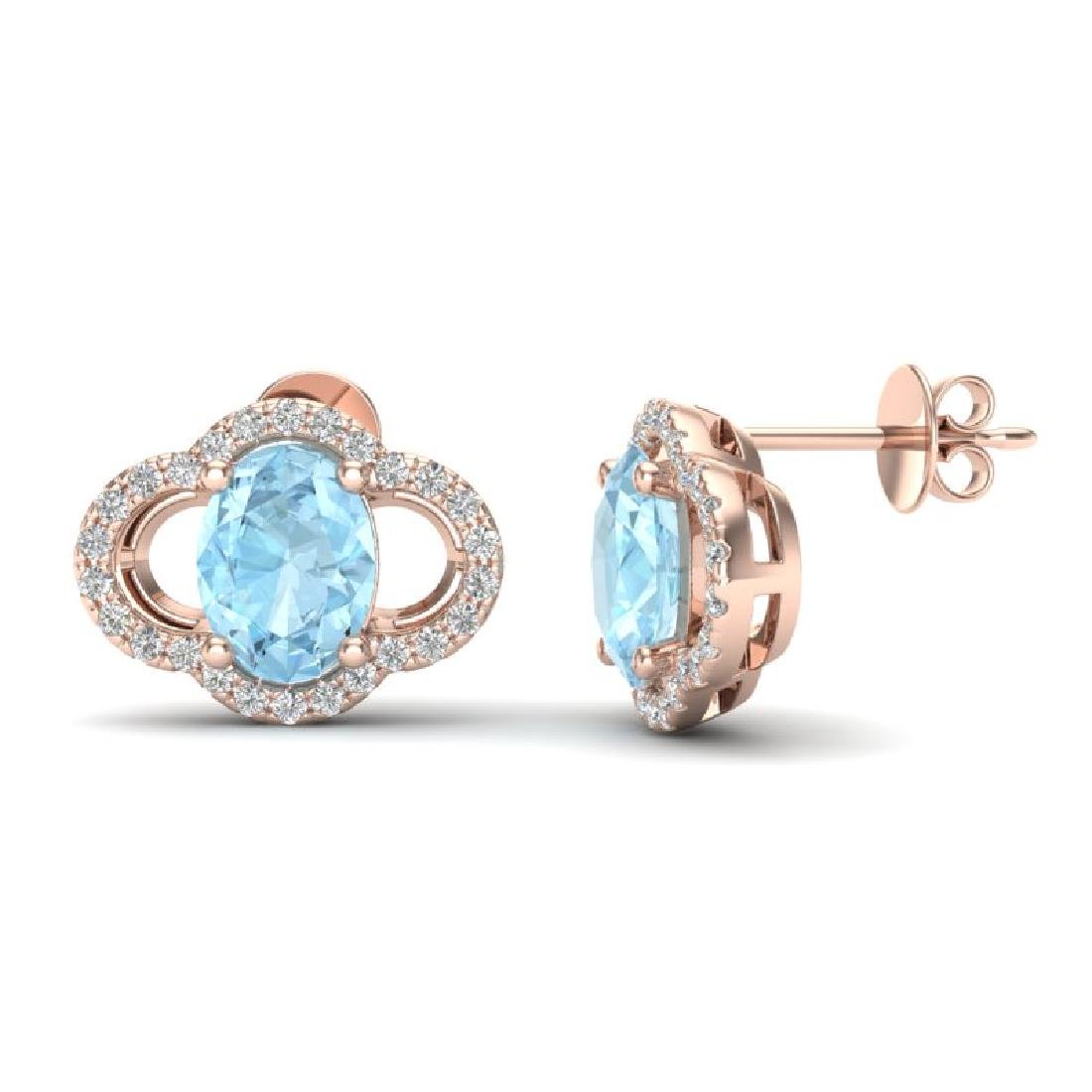 4 CTW Aquamarine & Micro Pave VS/SI Diamond Earrings - 2