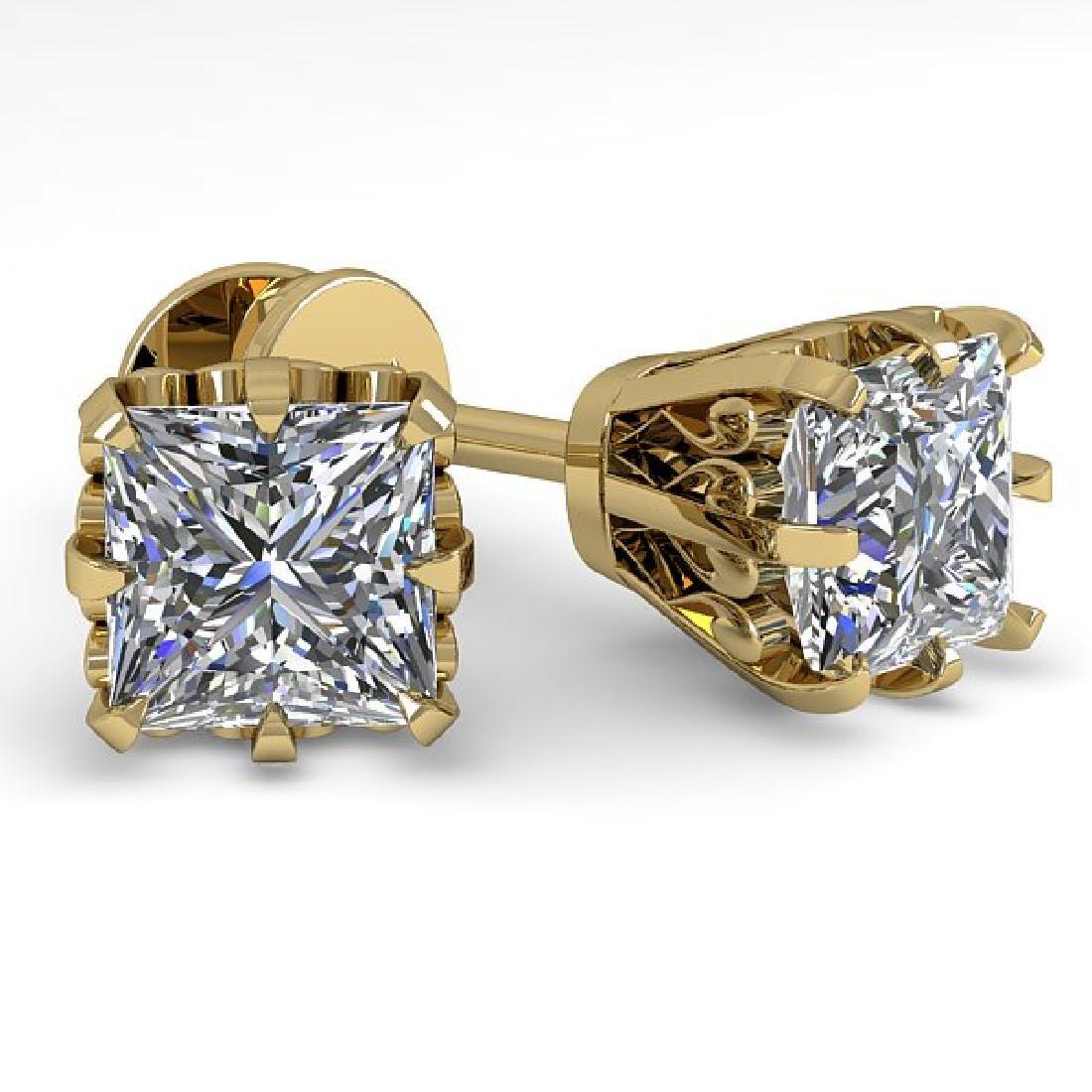 1.0 CTW VS/SI Princess Diamond Stud Solitaire Earrings