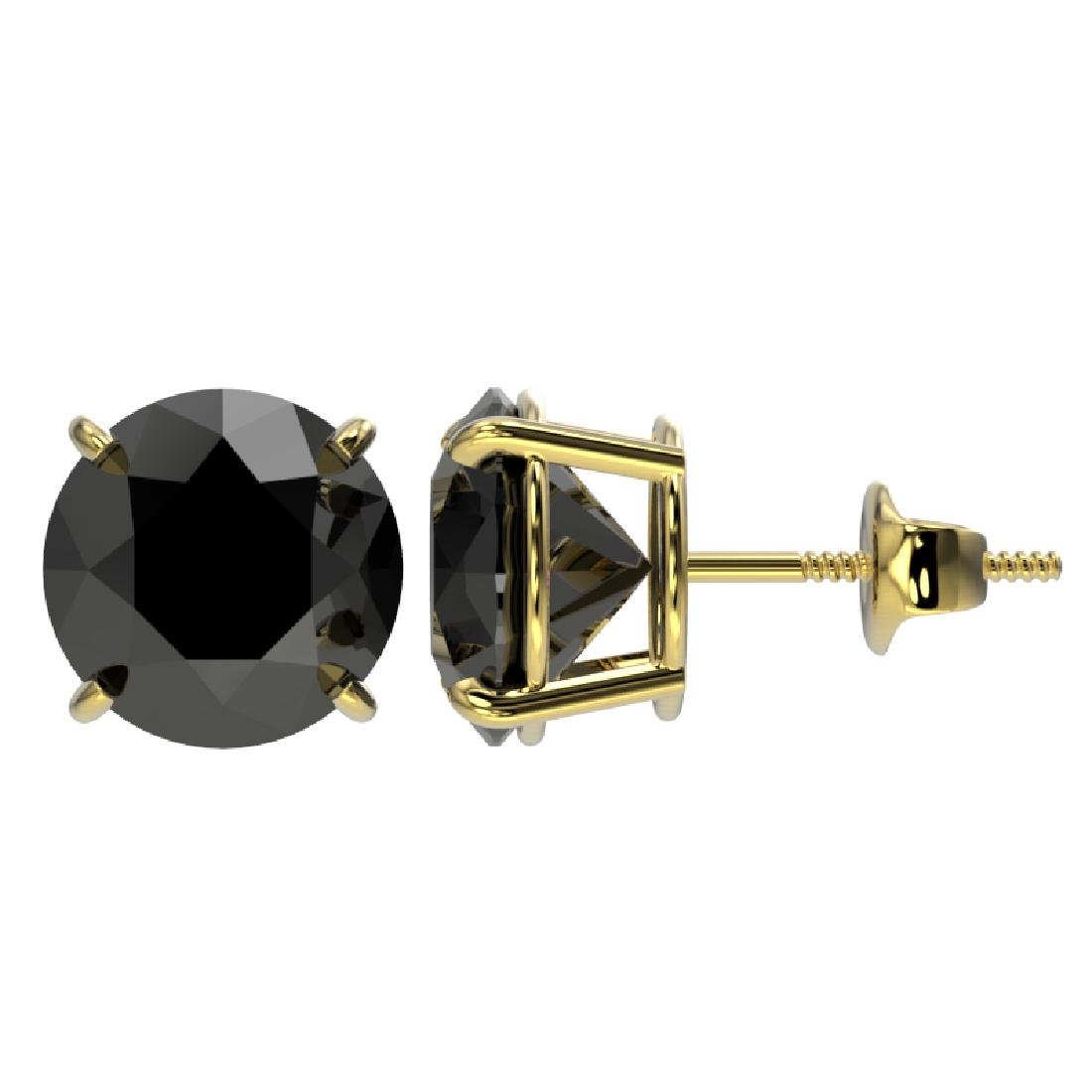 4.19 CTW Fancy Black VS Diamond Solitaire Stud Earrings - 2
