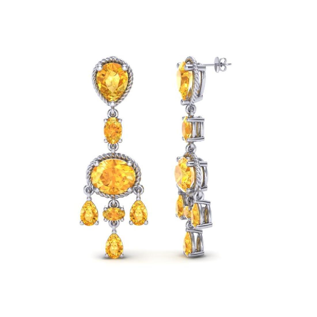16 CTW Citrine Earrings Designer Vintage 10K White Gold - 2