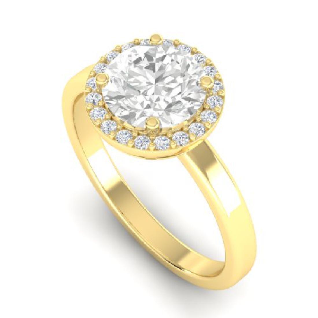 1.75 CTW Halo VS/SI Diamond Micro Pave Ring 18K Yellow - 2