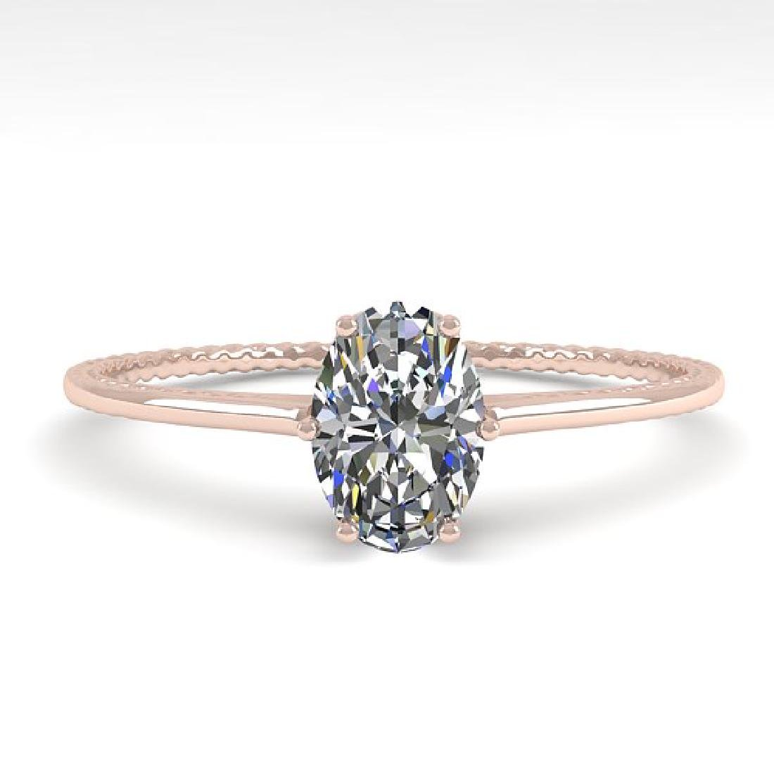 1.0 CTW VS/SI Oval Cut Diamond Art Deco Ring 14K Rose