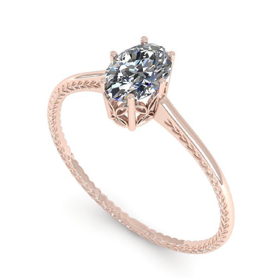1.0 CTW VS/SI Oval Cut Diamond Art Deco Ring 14K Rose - 2