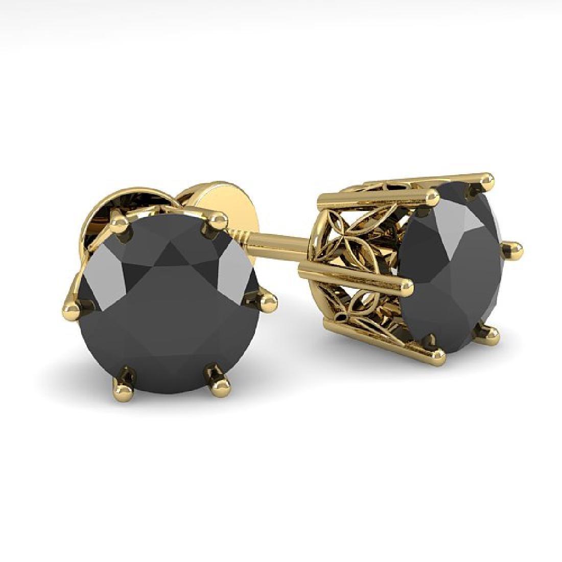 2.0 CTW Black Certified Diamond Stud Art Deco Earrings