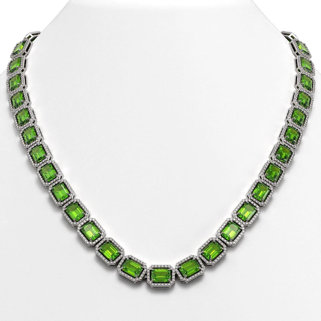 57.3 CTW Peridot & Diamond Halo Necklace 10K White Gold
