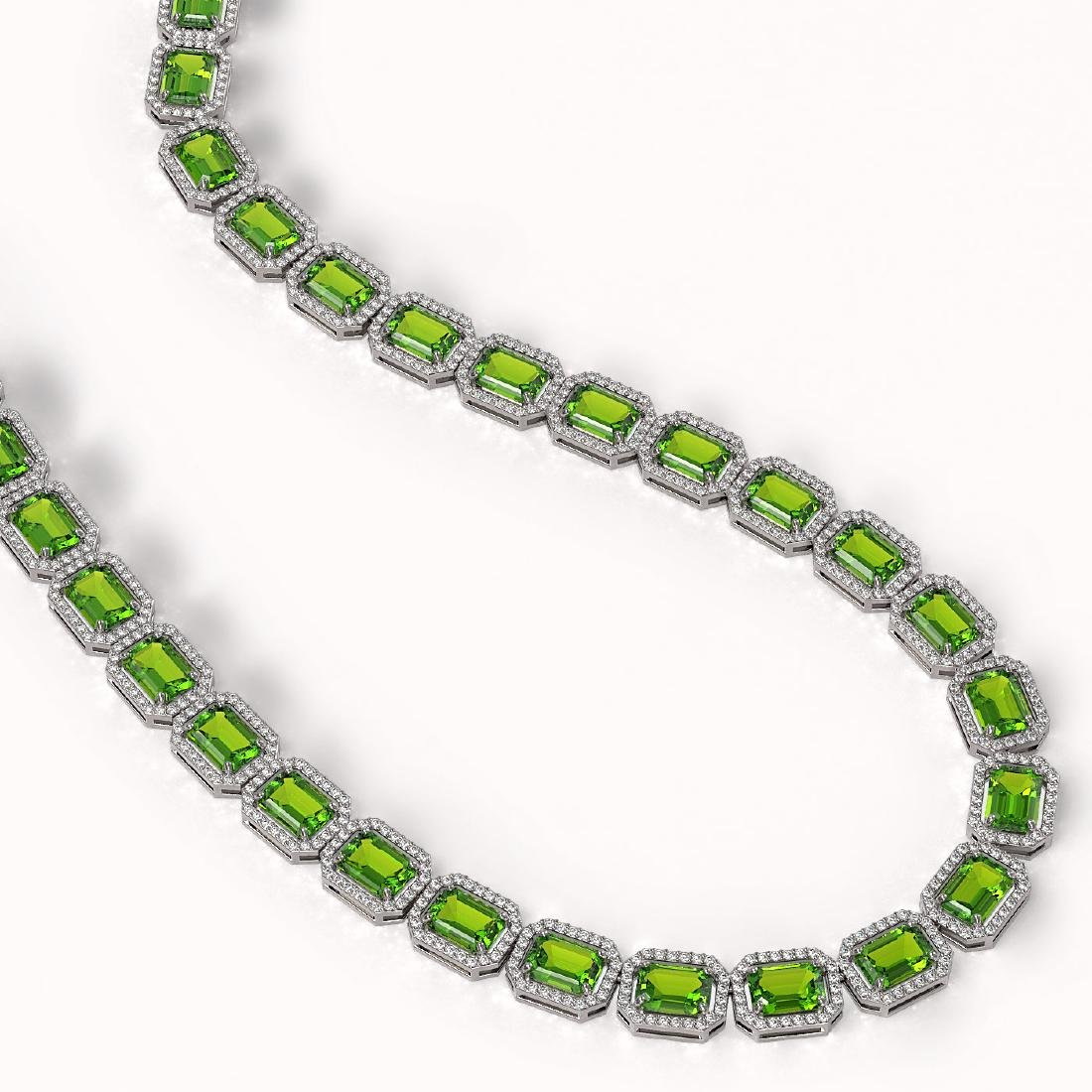 57.3 CTW Peridot & Diamond Halo Necklace 10K White Gold - 2