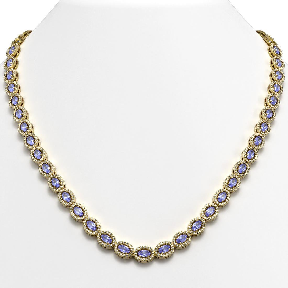 22.62 CTW Tanzanite & Diamond Halo Necklace 10K Yellow
