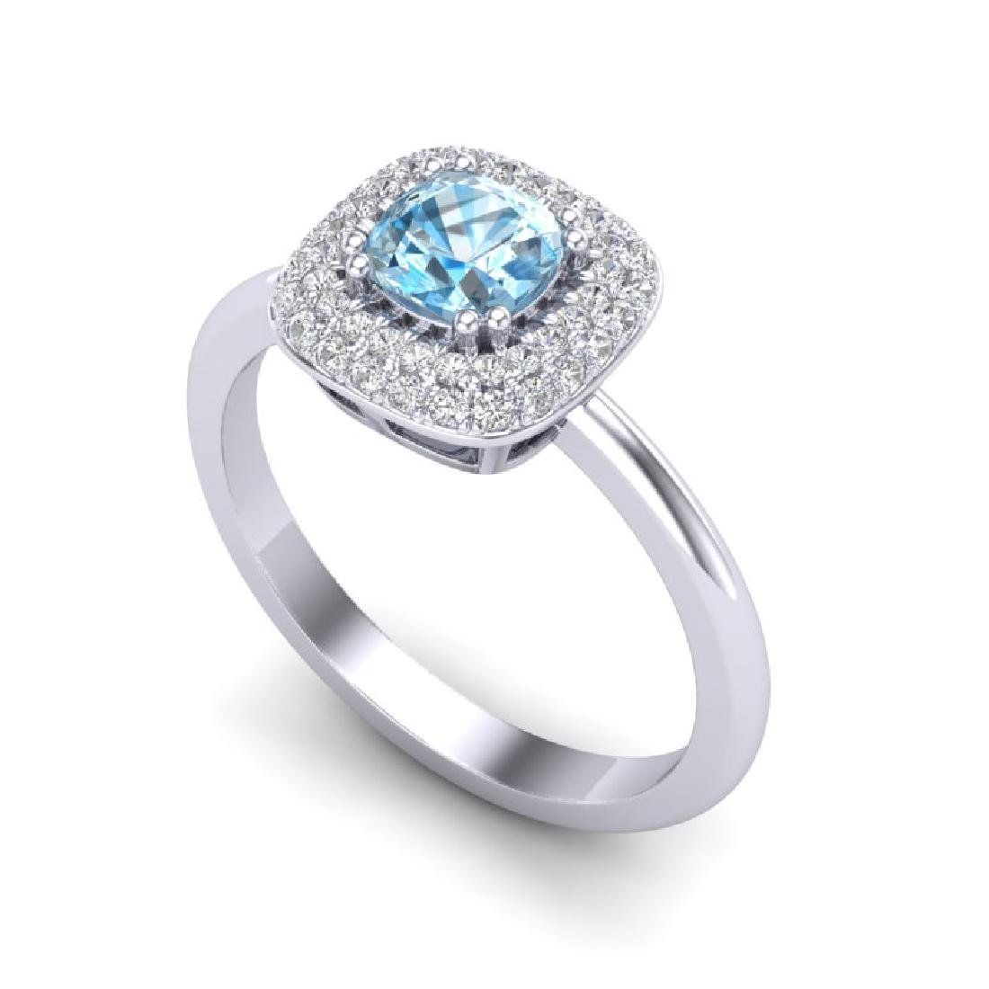 1.16 CTW Sky Blue Topaz & Micro VS/SI Diamond Ring - 2