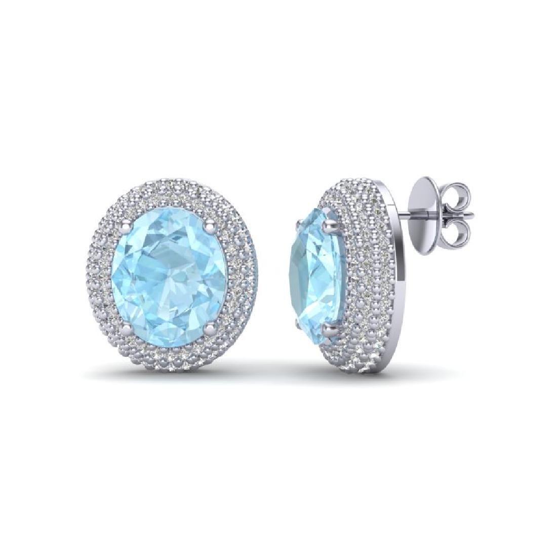 8 CTW Aquamarine & Micro Pave VS/SI Diamond Earrings - 2