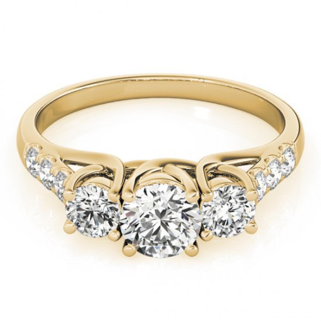 1.33 CTW Certified VS/SI Diamond 3 Stone Ring 14K