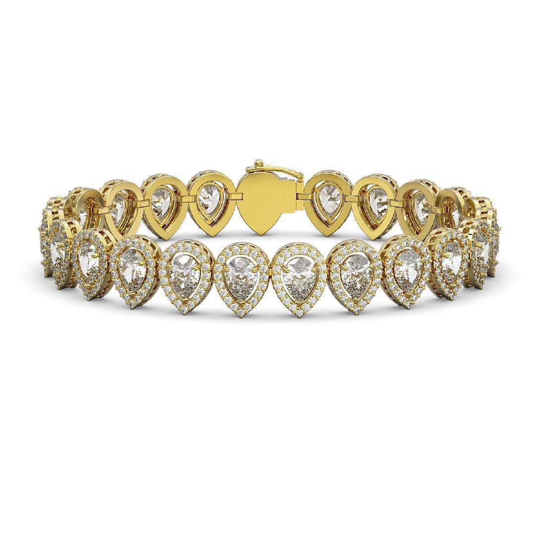 15.85 CTW Pear Diamond Designer Bracelet 18K Yellow