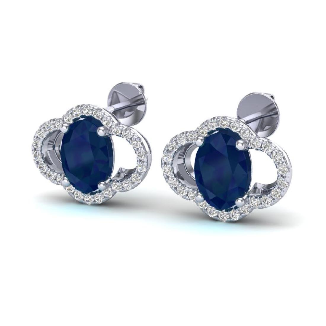 4 CTW Sapphire & Micro Pave VS/SI Diamond Earrings 10K