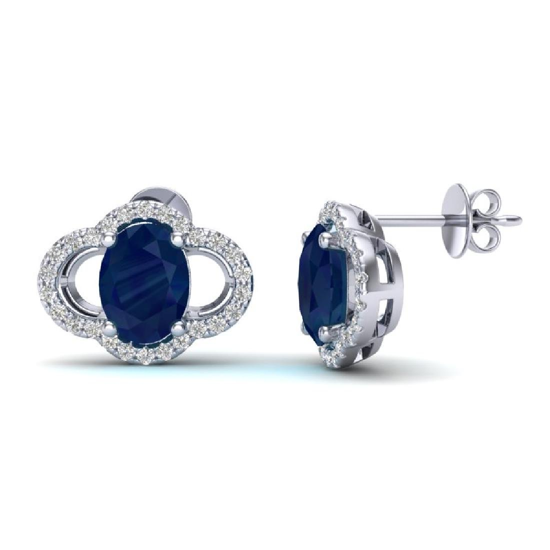4 CTW Sapphire & Micro Pave VS/SI Diamond Earrings 10K - 2