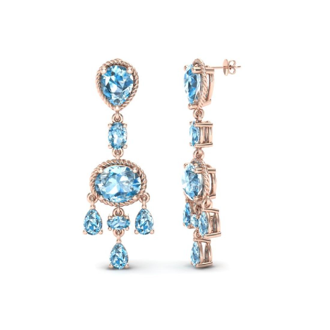 16 CTW Sky Blue Topaz Earrings Designer Vintage 10K - 2