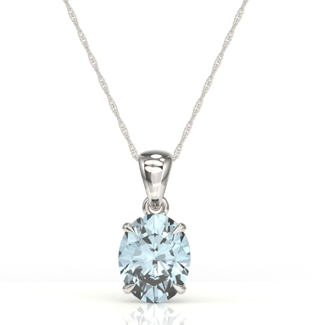 2.5 CTW Aquamarine Designer Inspired Solitaire Necklace - 2