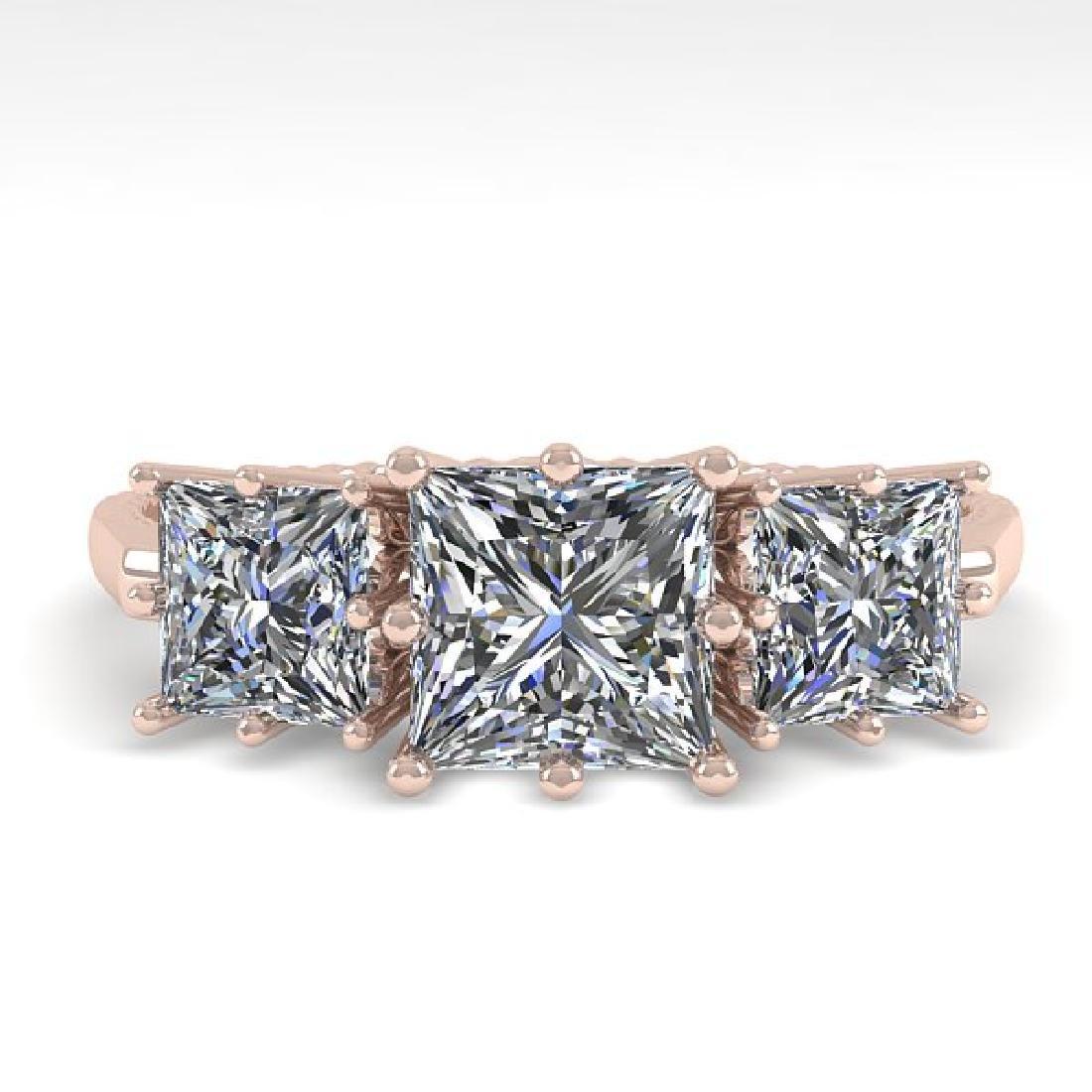 2.0 CTW VS/SI Princess Diamond Art Deco Ring 14K Rose