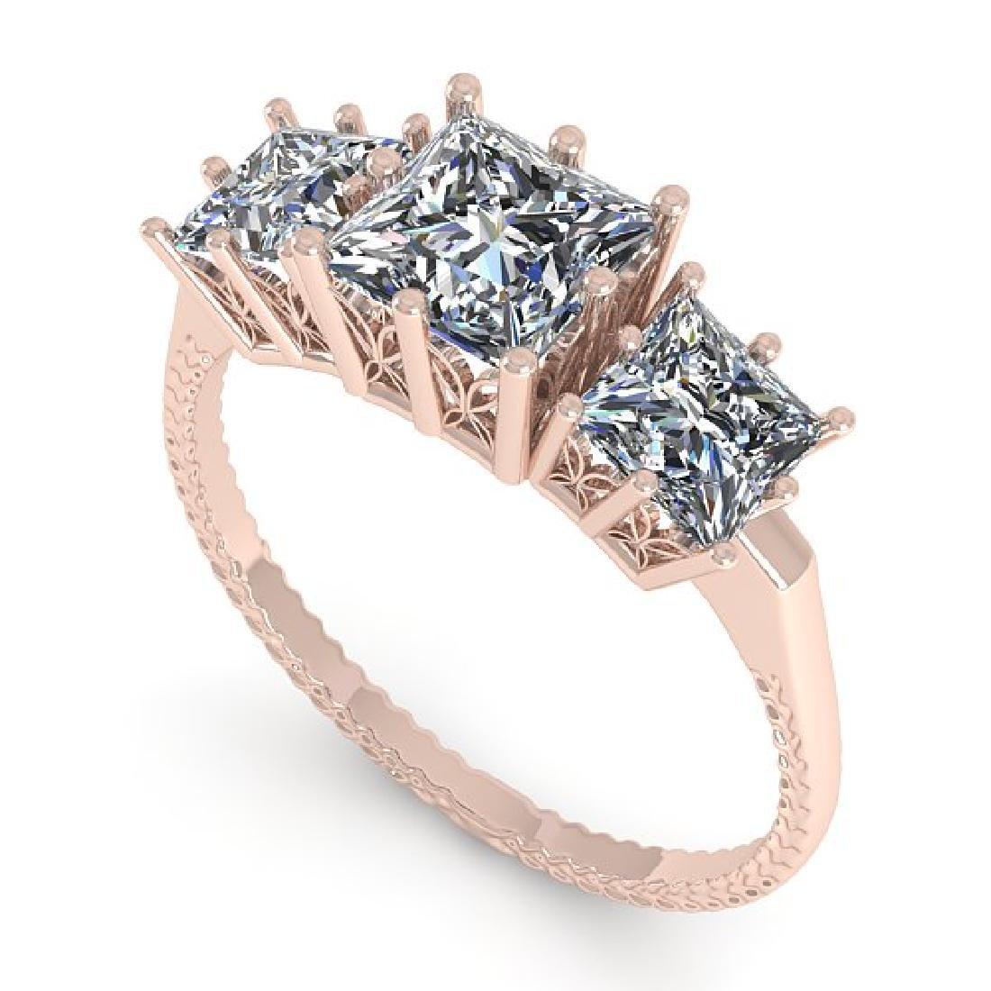 2.0 CTW VS/SI Princess Diamond Art Deco Ring 14K Rose - 2