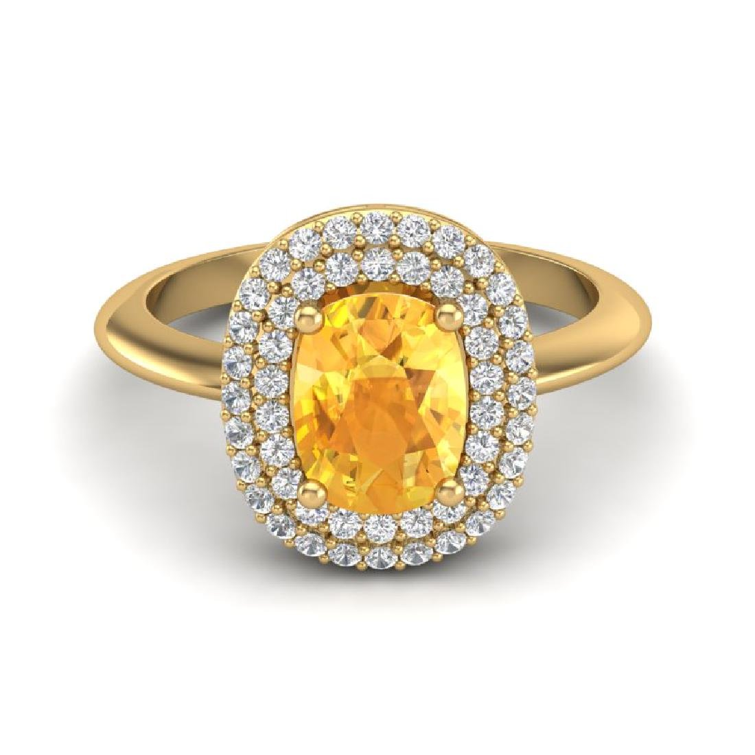 2.50 CTW Citrine With Micro Pave VS/SI Diamond Ring