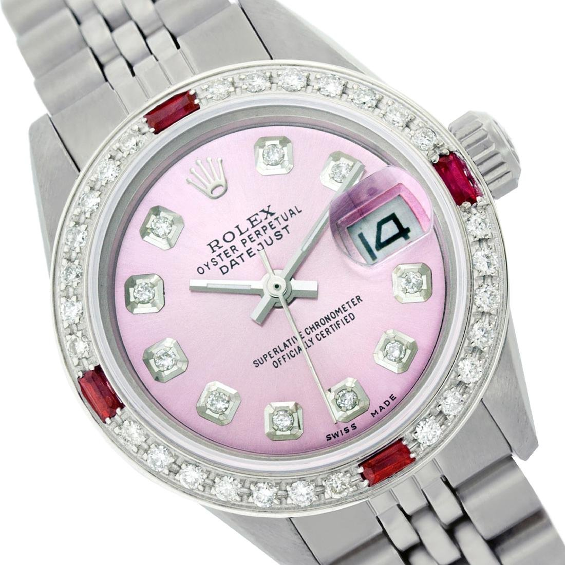 Rolex Ladies Stainless Steel, Diam Dial & Diam/Ruby