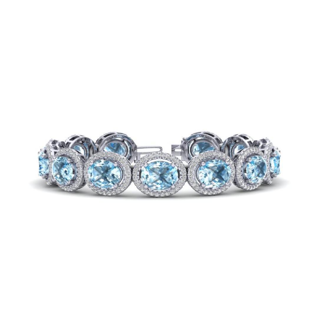 30 CTW Sky Blue Topaz & Micro Pave VS/SI Diamond