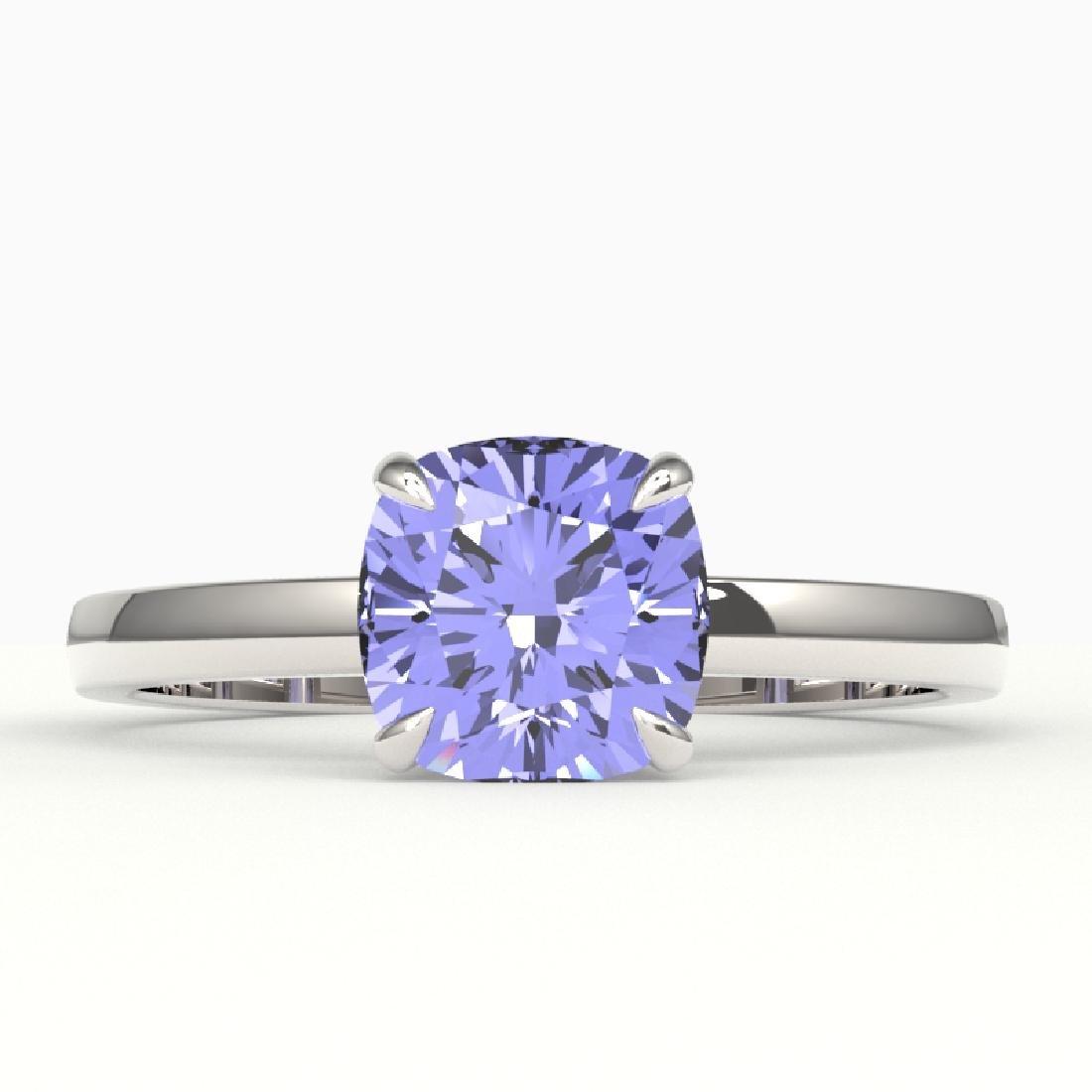 2 CTW Cushion Cut Tanzanite Designer Engagement Ring