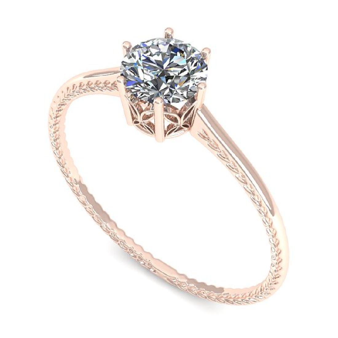 0.50 CTW VS/SI Diamond Art Deco Ring 14K Rose Gold - 2