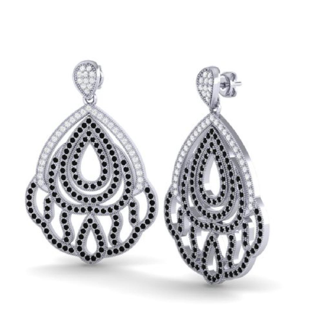 3 CTW Micro Pave Black & VS/SI Diamond Earrings - 2