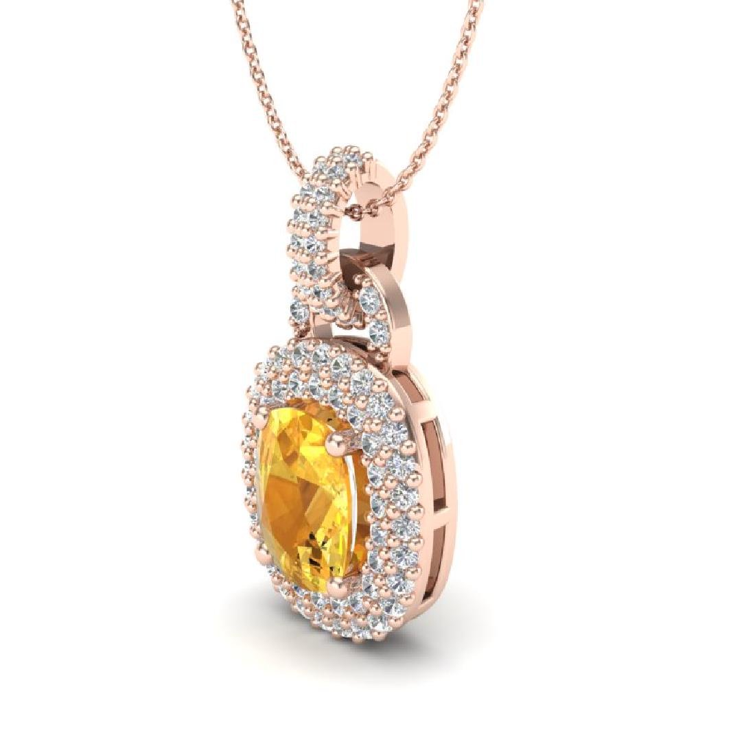 2.50 CTW Citrine And Micro VS/SI Diamond Necklace Halo - 2