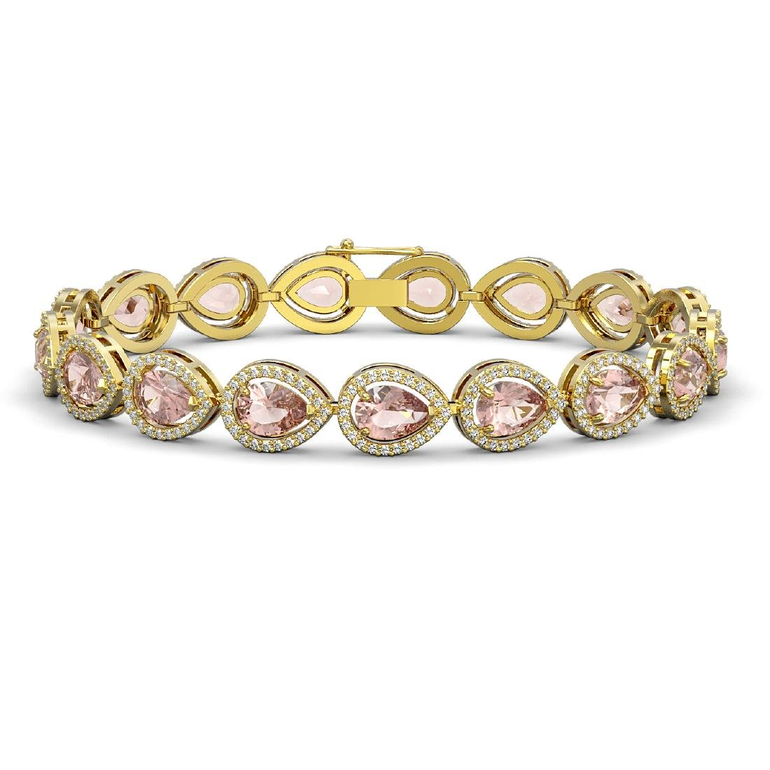16.59 CTW Morganite & Diamond Halo Bracelet 10K Yellow