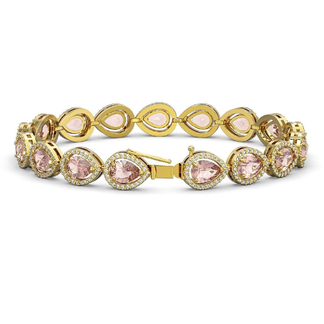 16.59 CTW Morganite & Diamond Halo Bracelet 10K Yellow - 2