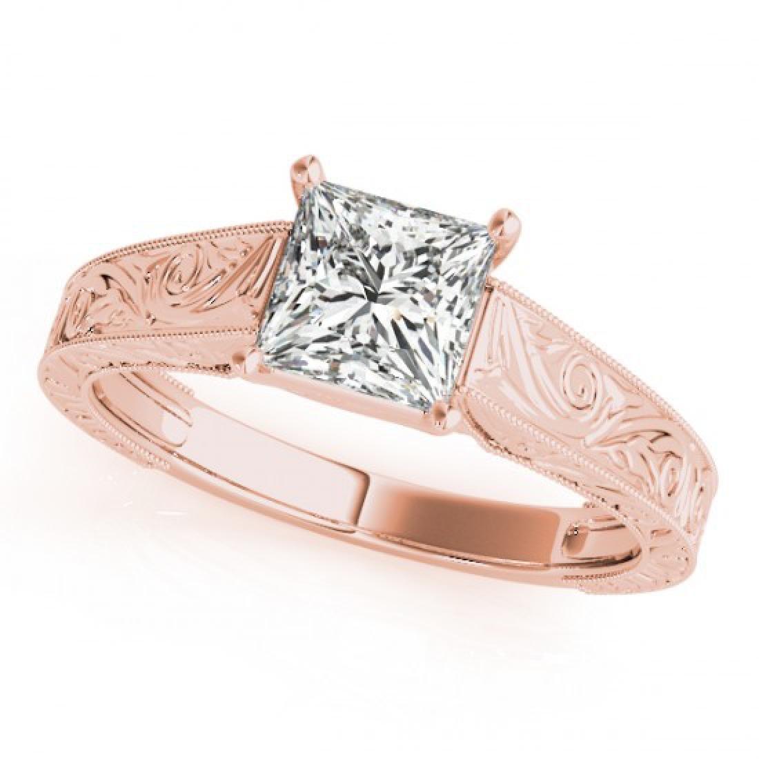 0.75 CTW Certified VS/SI Princess Diamond Ring 14K Rose