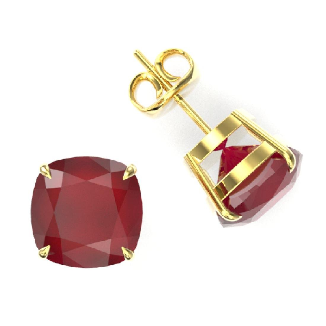 12 CTW Cushion Cut Ruby Designer Solitaire Stud - 2