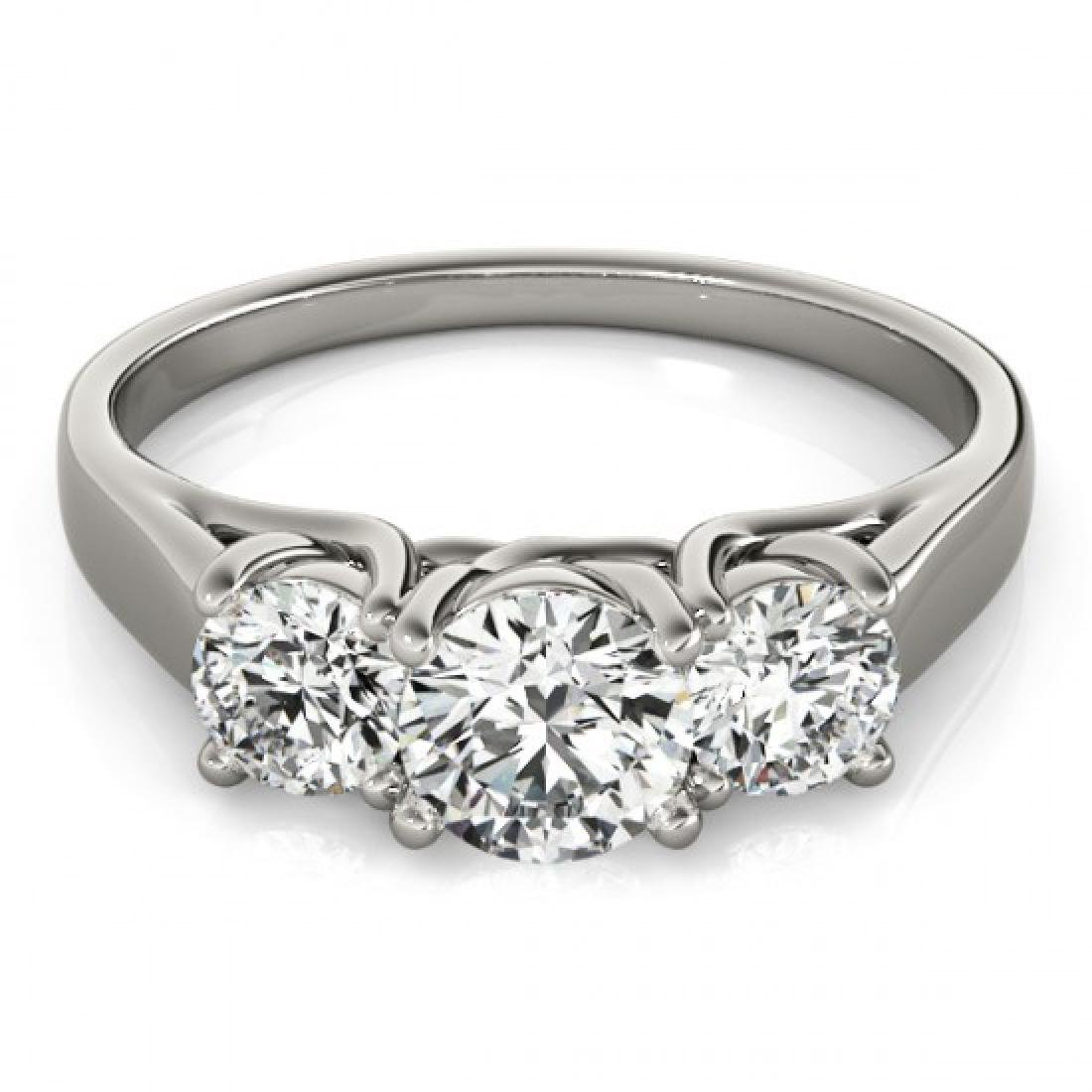 0.5 CTW Certified VS/SI Diamond 3 Stone Ring 14K White