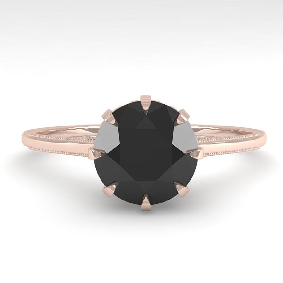 1.50 CTW Black Certified Diamond Solitaire 14K Rose